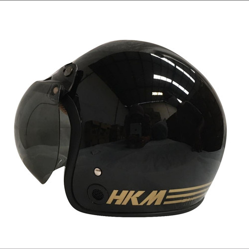 Foto Produk helm retro hkm line black gloss (free kaca helm) dari GudangHelm