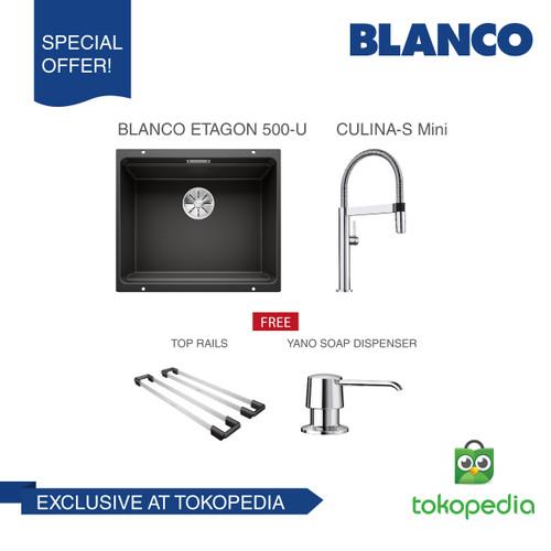 Foto Produk BLANCO ETAGON 500-U Silgranit Sink + BLANCO CULINA S-MINI Mixer Taps - Hitam dari BLANCO Official Store