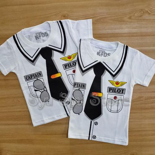 Foto Produk Baju Atasan Kaos Anak Laki Laki Cowok Profesi Pilot Putih - Ukuran Usia 1 dari Syu Syu Store