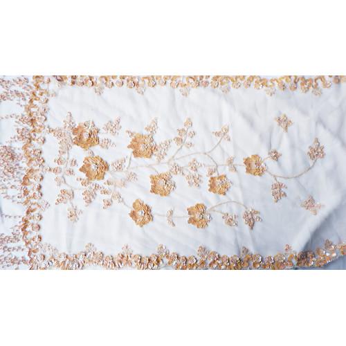 Foto Produk Selendang/Kerudung Pengantin Full Payet Handmade Nude/Kulit AB- Bordir dari jakahong studio