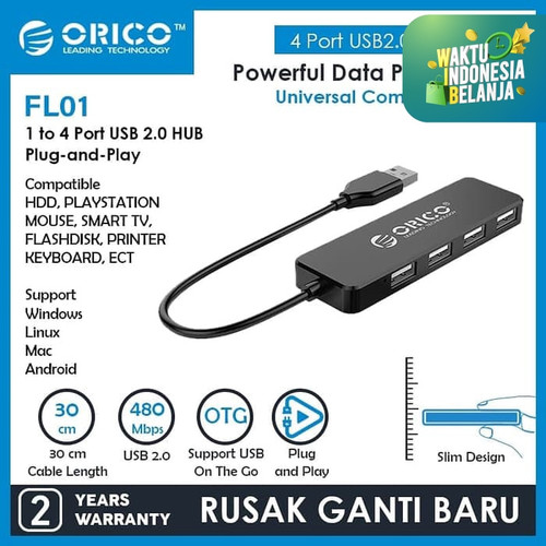 Foto Produk ORICO USB2.0 HUB 4-Port - FL01-FS dari ORICO INDONESIA