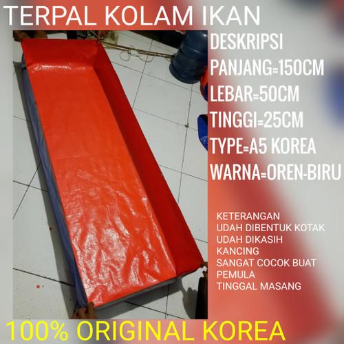 Foto Produk terpal kolam ikan mini ukuran (150x50x25) type a5 korea - OREN-BIRU, 150x50x25 dari terpal_kolam_ubay