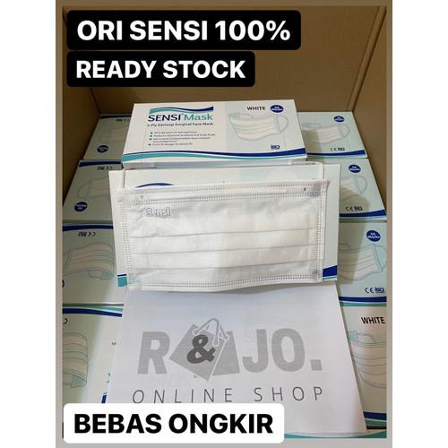 Foto Produk MASKER SENSI EARLOOP ISI 50 PCS SURGICAL FACE MASK WARNA PUTIH - Putih dari R & Jo.