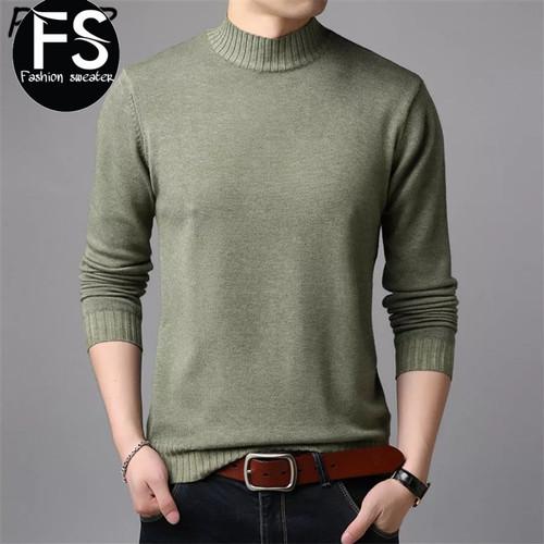 Foto Produk sweater rajut cotton v neck pria - hijau army, S dari izdihaar fashion Sweater