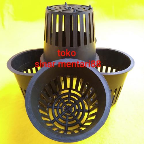 Foto Produk Netpot Besar Hidroponik Hitam 8 cm dari toko sinar mentari88