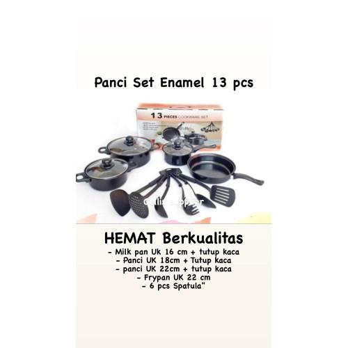 Foto Produk Panci Set Enamel Hitam 13 pcs anti Lengket ( panci, wajan, spatula) dari Cellis Houseware