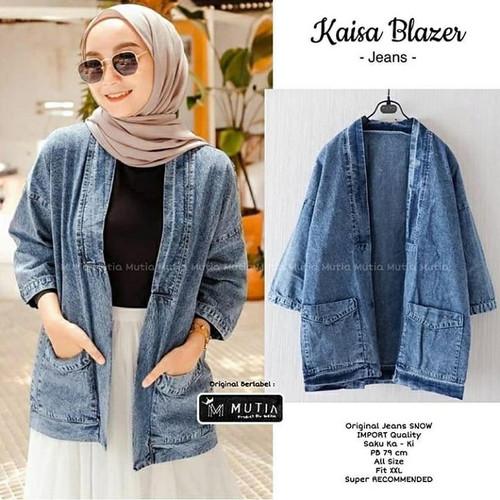Foto Produk Kaisa Blazer wanita blazer jeans cardygan kardigan outer jaket wanita dari shriya