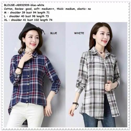 Foto Produk Baju Atasan Kemeja Kotak Wanita Blouse Korea Import AB932939 Tunik dari Amelie Butik Wholesale