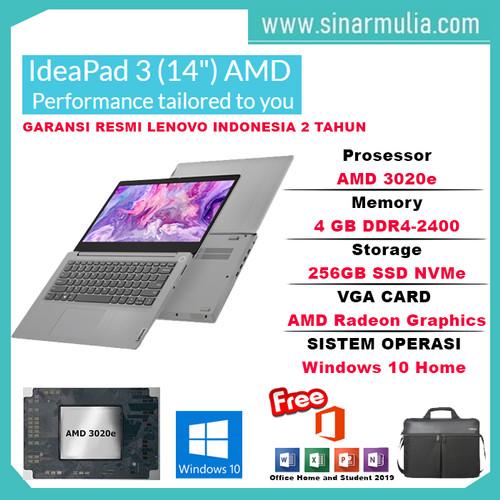 Foto Produk Laptop Lenovo Ideapad Slim 3 AMD 3020e 4GB 256GB SSD 14 inch WIN10+OHS - Cherry Red dari Sinarmulia Sukses Makmur
