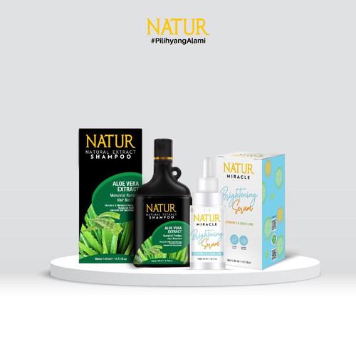 Foto Produk Natur Miracle Brightening Face Serum & Natur Shampoo 140 ml dari AZALEA OFFICIAL STORE