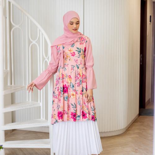 Foto Produk Magnolia Hanbok Floral Tunic / Tunik - Pink Frosting, L-XL dari sheenofficial