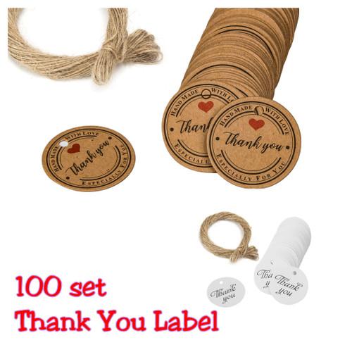 Foto Produk Stiker Thank You Label Set Thank You for Your Order Handmade Online - Tali Aja 10m dari MadisonShop
