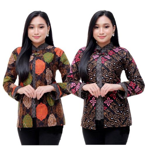 Foto Produk Baju batik wanita blouse bolero kombinasi best seller 005 - Pink, M dari SANTY-COLLECTION