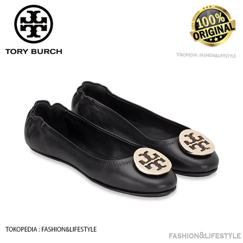 Foto Produk Tory Burch Minnie Travel Ballet Flats Black Gold Shoes Original 100% dari Fashion&LifeStyle
