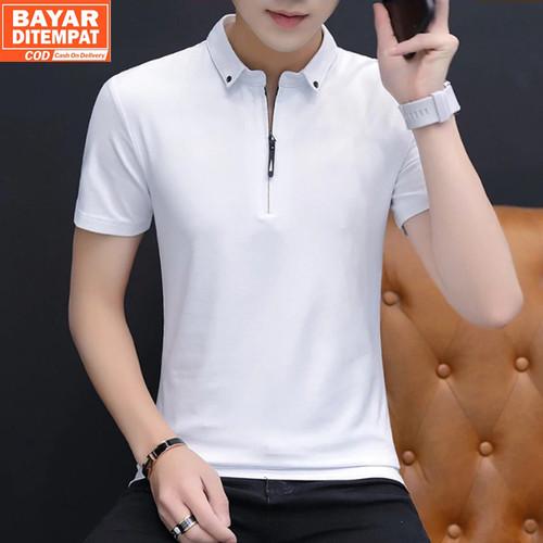 Foto Produk Baju Kaos Polo Pria Resleting Terbaru Polos Kerah Bahan Katun - Elyon - Putih, S dari Rumah Soccer ID