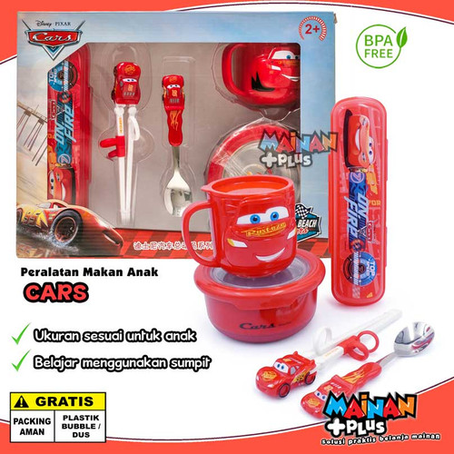 Foto Produk PERALATAN MAKAN SENDOK SUMPIT ANAK EATING SET GIFT SET FROZEN CARS - CARS dari MainanPlus