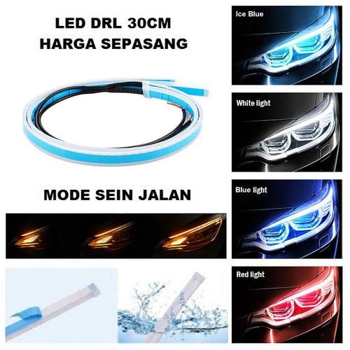 Foto Produk Lampu LED Alis Tempel DRL 30 CM Mobil Motor 30CM Sein Running Grade A+ - putih kuning dari Motovindo