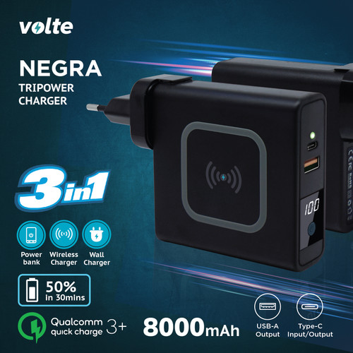 Foto Produk VOLTE NEGRA Tripowe Charger 8000mAh Fast Charging dari volte indonesia