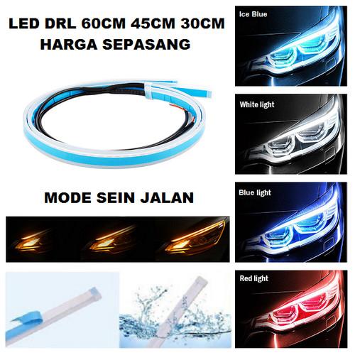 Foto Produk Lampu LED DRL Alis Tempel 30CM 45CM 60CM DRL Mobil Motor 30 45 60 CM - Putih, 30 cm dari Garuda LED