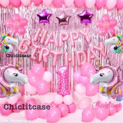 Foto Produk Set paket balon unicorn pony dekorasi pesta ulang tahun birthday anak - Angka 1, Tanpa standing dari chic lit case