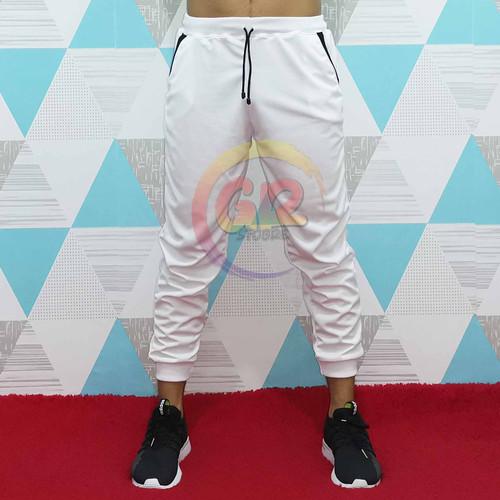 Foto Produk Celana Jogger Polos Pria / Wanita Putih List Saku Hitam - M dari GR STOORE