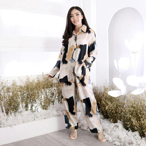 Foto Produk Set Piyama Wanita Pajamas Oneset Tie Dye Baju Tidur Panjang Dailyset - Brown dari Victoria Grosir