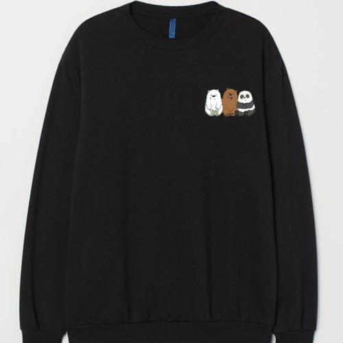 Foto Produk Sweater Basic Crewneck Bare Bears Logo Dada Kiri Unisex Size M-XXL - Hitam, M dari YCL Sweater Hoodie