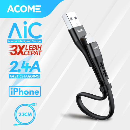 Foto Produk Acome Data Cable iPhone Lightning Fast Charging 2.4A 23cm ADL023 - iphone dari Acome Indonesia