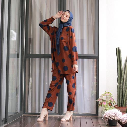 Foto Produk Baju Tidur Wanita Lengan Panjang Set Piyama Kemeja Katun Rayon FitToXL dari nooma official