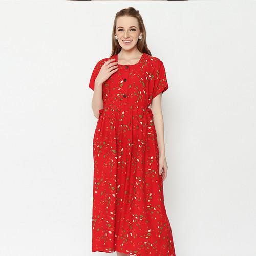 Foto Produk Daily Wear Adinata Batik Lexa Red Long Dress - XL dari ADINATA BATIK ID