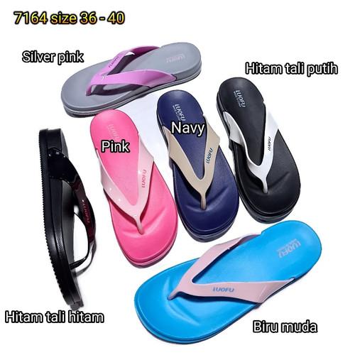 Foto Produk jelly sandal luofu wanita jepit karet sendal japit import 7164 dari Payu
