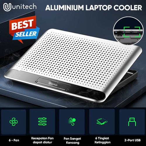 Foto Produk Cooling Pad Cooler Laptop Unitech H8 Bahan Alumunium 6 Kipas Kencang dari Unitech Official