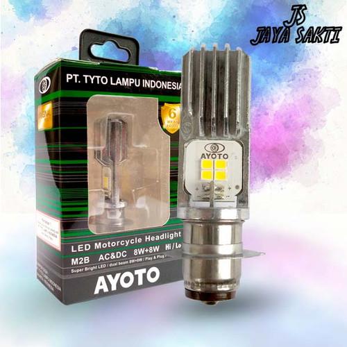 Foto Produk Lampu depan motor LED AYOTO M2B H6 AC DC motor matic bebek dari Jaya Sakti