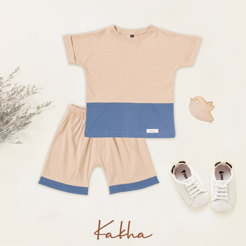 Foto Produk Kakha Series – Set Main Basic Kakha (Set main bayi / set main anak) - Blue-Cream, XL dari kakhaofficial