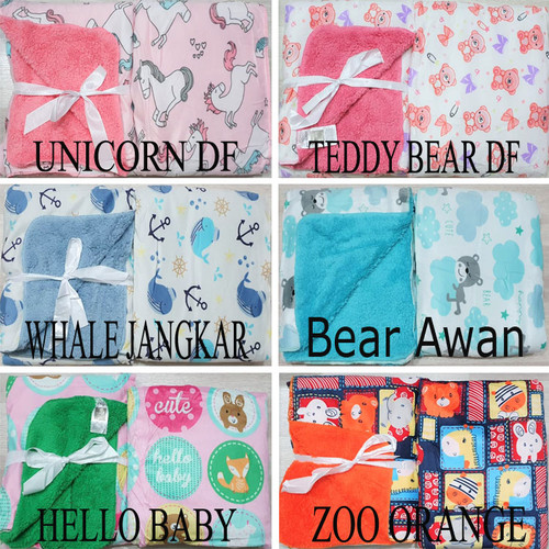 Foto Produk Selimut Bayi Double Fleece | Selimut Anak Double Fleece Tanpa Topi - Teddy Bear DF dari Lunar Baby Shop