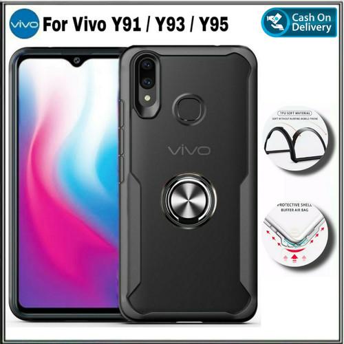 Foto Produk Case Vivo Y91 Y93 Y95 Casing Soft Hard TPU Transparan Ultraslim Cover - Hitam dari HanyCase