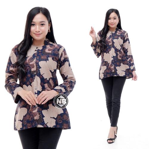 Foto Produk Baju Batik Atasan Wanita/Blouse Batik Kombinasi Kantor Formal - Navy, M dari SANTY-COLLECTION