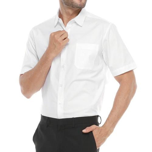 Foto Produk Kemeja Pria - Kemeja Polos Putih - Kemeja Cowok Lengan Pendek - XL dari MTB Fashion Corp