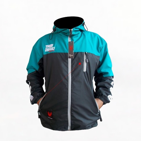 Foto Produk Jaket Pria WindBreaker/Jaket Outdoor/Jaket Parasut/Jaket Gunung Pria - Toska Black, M dari Grosir jaket 01