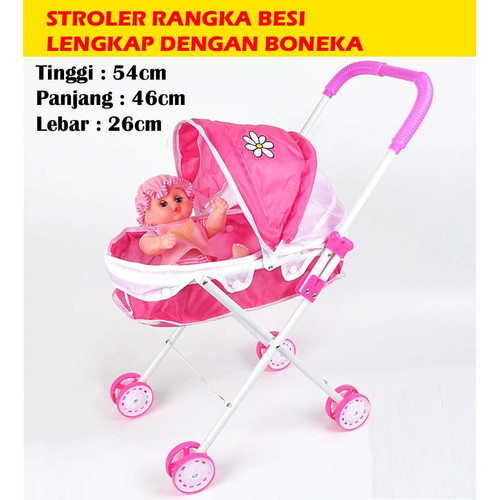 Foto Produk MAINAN ANAK BABY STROLER RANGKA BESI + BONEKA dari STAR TOY's