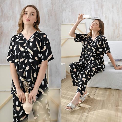 Foto Produk Vanya Set in Black Brush - Sleepwear / Piyama Baju Tidur Rayon by RAHA dari Raha Sleepwear