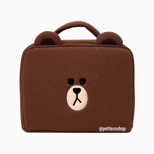Foto Produk Line Friends Brown Make Up Bag Cosmetic Pouch Tas - Brown Bag dari PetiteCoShop