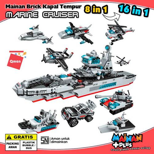 Foto Produk MAINAN BRICK LEGO QMAN KAPAL PERANG KENDARAAN TEMPUR MARINE CRUISER dari MainanPlus