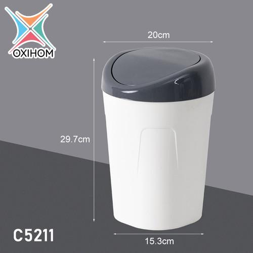 Foto Produk Oxihom C5211 Medium Tempat Kotak Keranjang Sampah Plastik Trash Bin - C5211 Abu Abu dari Oxihom