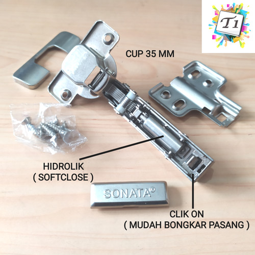 Foto Produk Hydraulic Hinges Clip On / Engsel Sendok Slow Motion Soft Close Sonata dari Toko Income