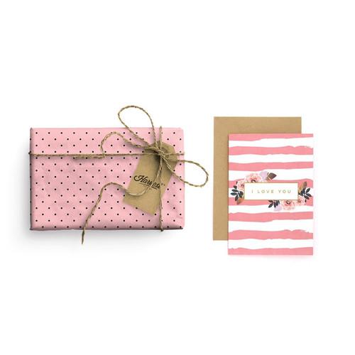 Foto Produk Paket Kertas Kado & Kartu Valentine Harvest Gift Set - Vintage Dots dari Harvest Goods