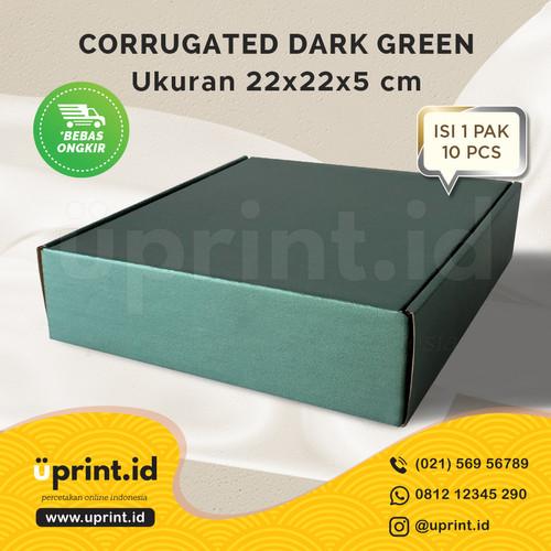 Foto Produk CORRUGATED BOX POLOS  DUS BROWNIES  22x22x5 READY STOCK DARK GREEN dari Uprint.id