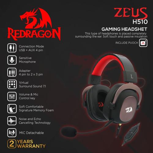 Foto Produk Redragon H510 Gaming Headset 7.1 with Microphone USB AUX ZEUS 2 - Hitam dari manekistore
