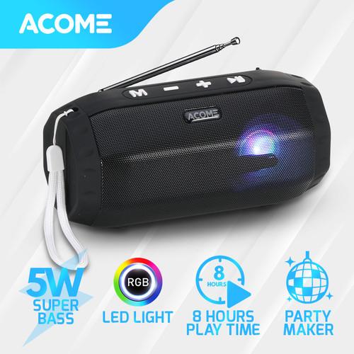 Foto Produk ACOME Speaker TWS 8W Super Bass Bluetooth 5.0 Hi-Fi RGB Party Maker A3 - Black dari Acome Indonesia