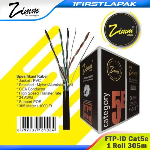 Foto Produk KABEL LAN FTP STP CAT 5e Outdoor SINGLE JAKET ZIMM LINK 305m dari 1firstlapak